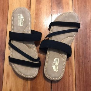 Cliffs by white mountain sandals